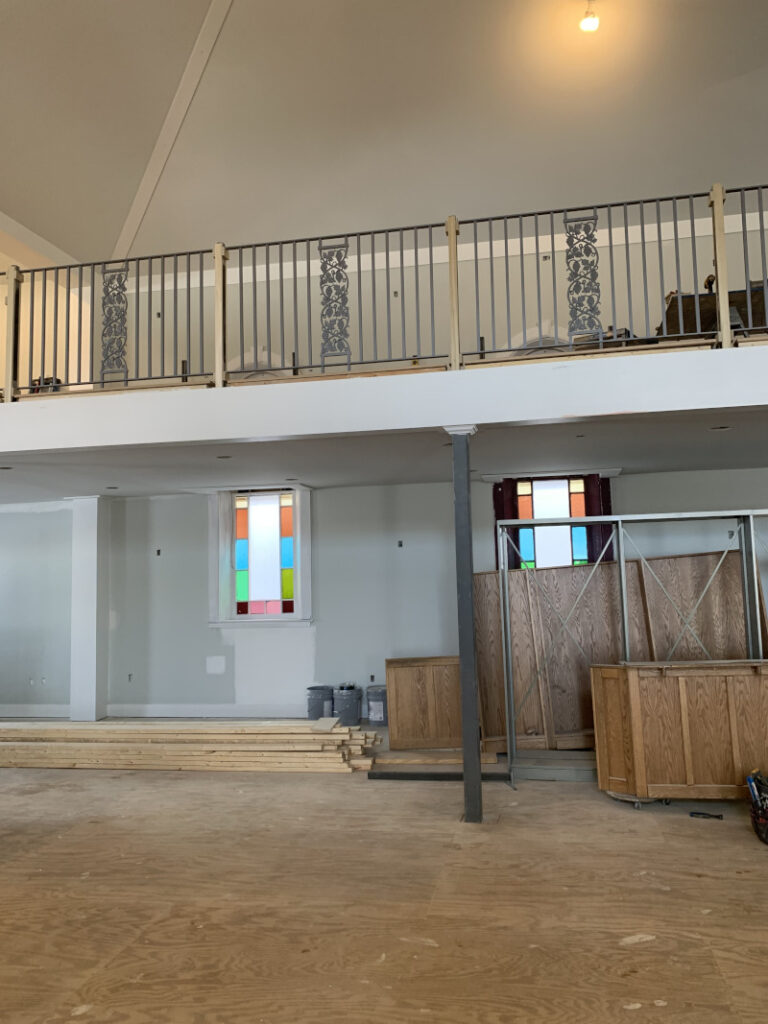 April Contruction - View of stained glass windows